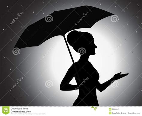 Girl With Umbrella Silhouette Royalty Free Stock