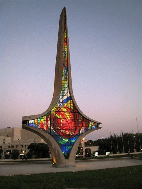 The symbol of Damascus Sword in the Umayyad Square, middle