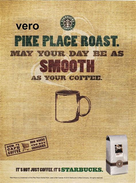 2010 ad poster STARBUCKS coffee Pike Place Roast smooth