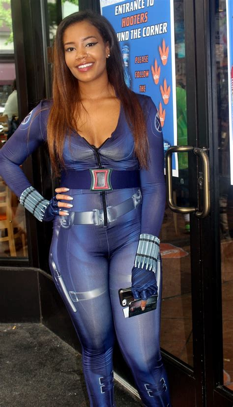 Black Widow cosplayed by a Hooters' waitress