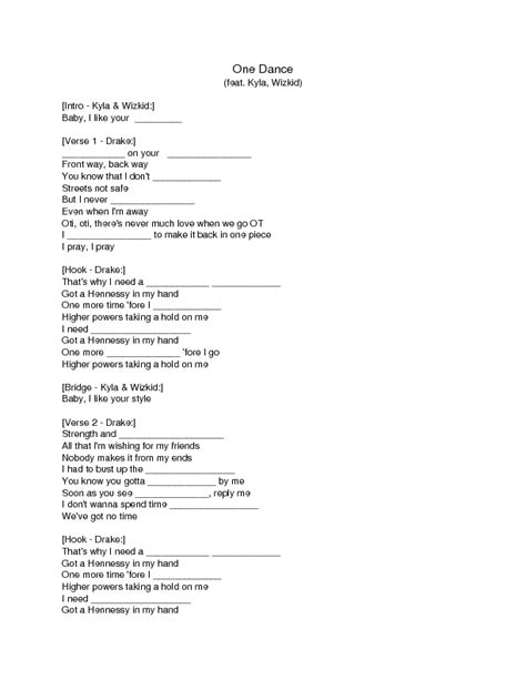 Song Worksheet: One Dance by Drake